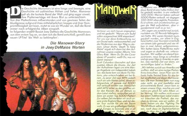 Manowar im METAL HAMMER 05/1987