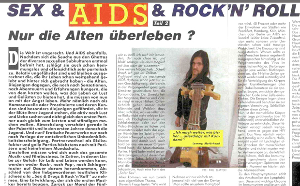 Sex & Aids & Rock'n'Roll, Metal Hammer 1987
