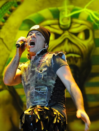 Bruce Dickinson of the legendary British rock band Iron Maiden performs at Ricardo Saprissa Stadium during a concert in San J