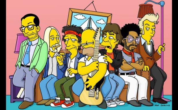 Elvis Costello, Tom Petty, Keith Richards, Mick Jagger, Lenny Kravitz und Brian Setzer bei den Simpsons