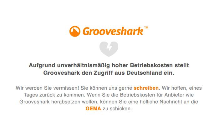 Grooveshark veründet sein Service-Ence in Deutschland