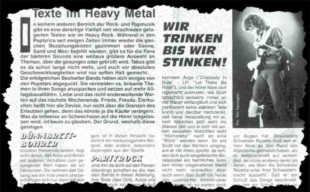 Heavy Metal Texte Ausriss 1987