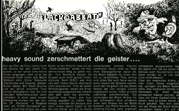 Black Sabbath Artikel in: Musikexpress 1/1971