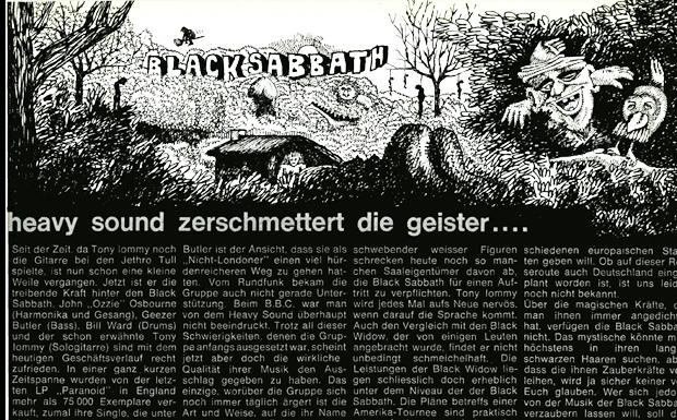 Black Sabbath Artikel in: Musikexpress 1/1971