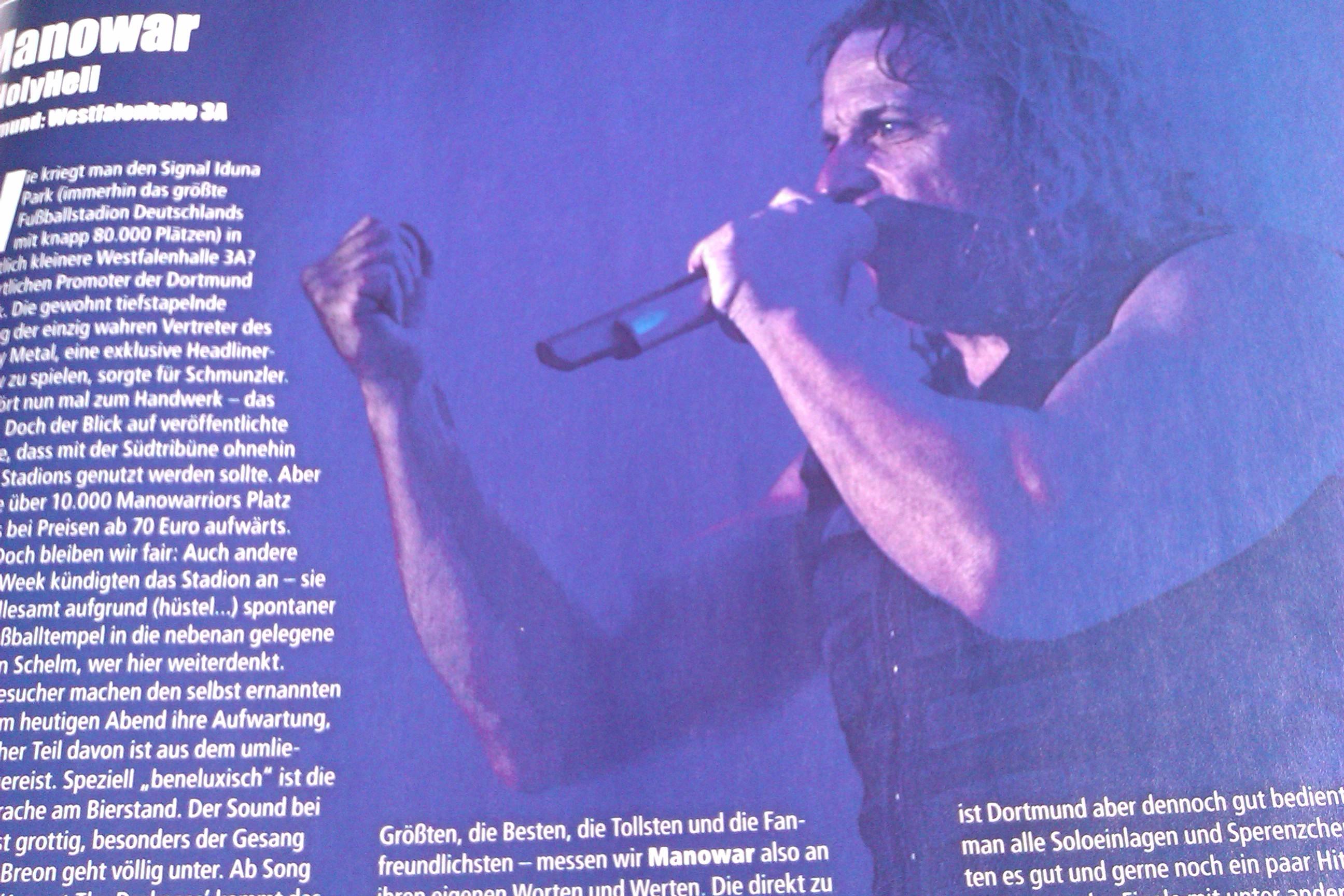 Manowar live in METAL HAMMER-Ausgabe 09/2012