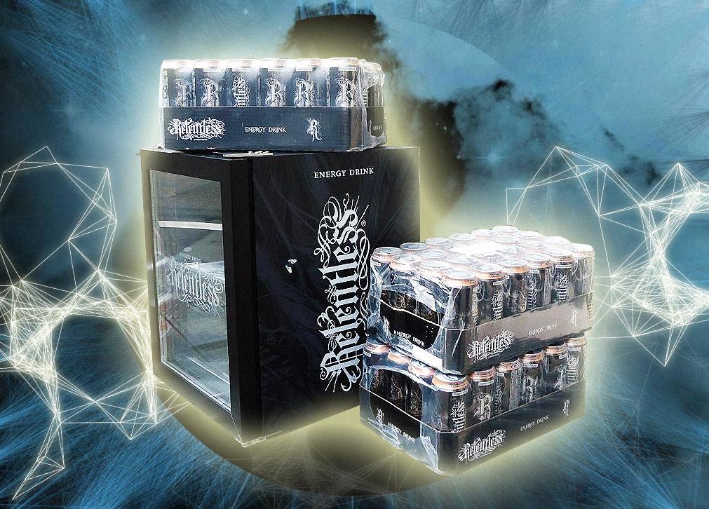 Gewinnt den prall gefüllten Relentless Energy Kühlschrank