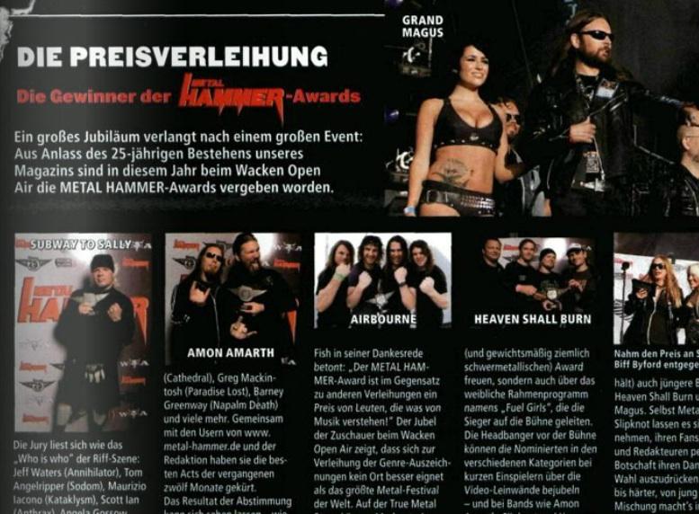 Die METAL HAMMER Awards in Ausgabe 09/2009