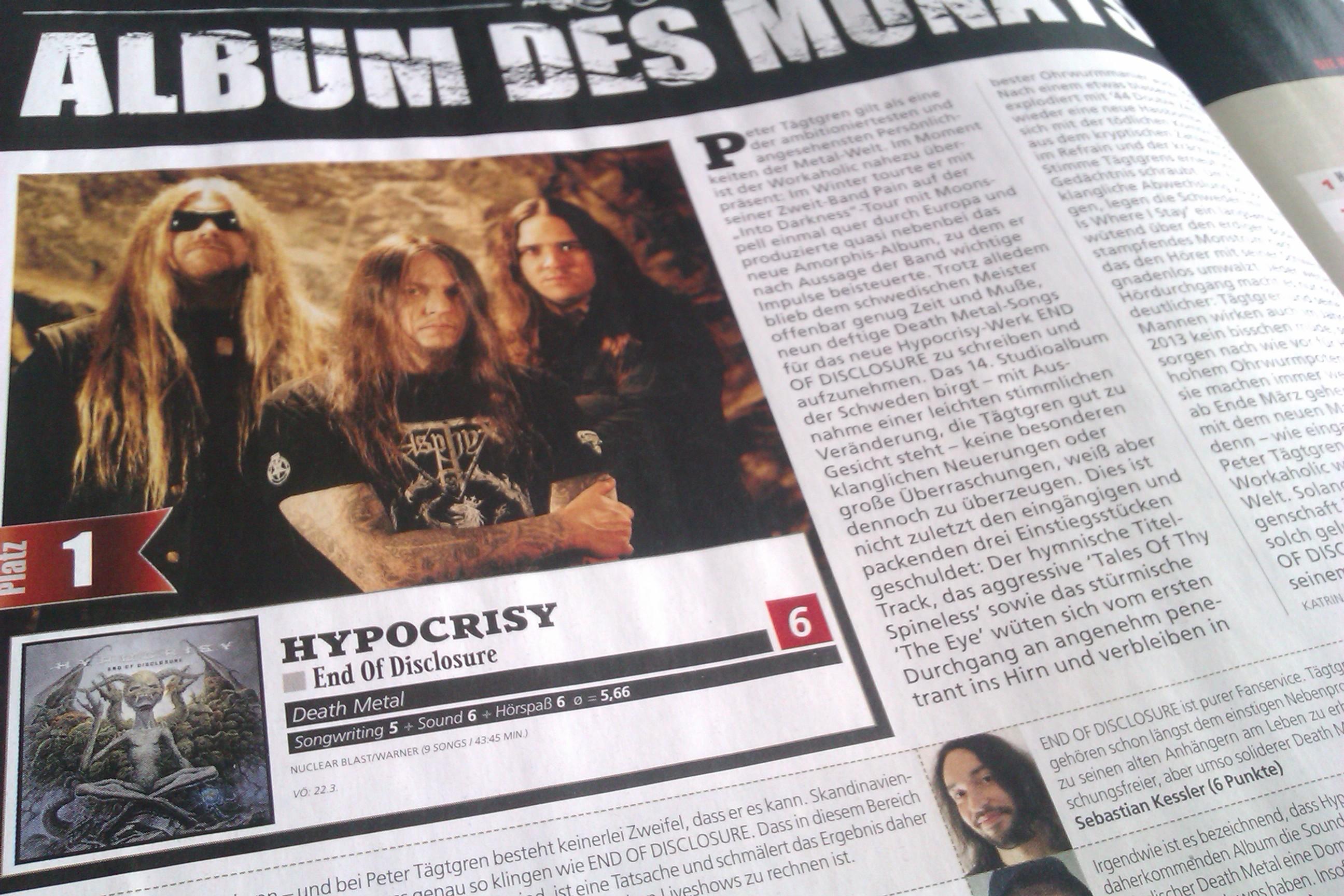 END OF DISCLOSURE von Hypocrisy ist das Album des Monats in unserer April-Ausgabe. Was die einzelnen Redakteure von dem Album