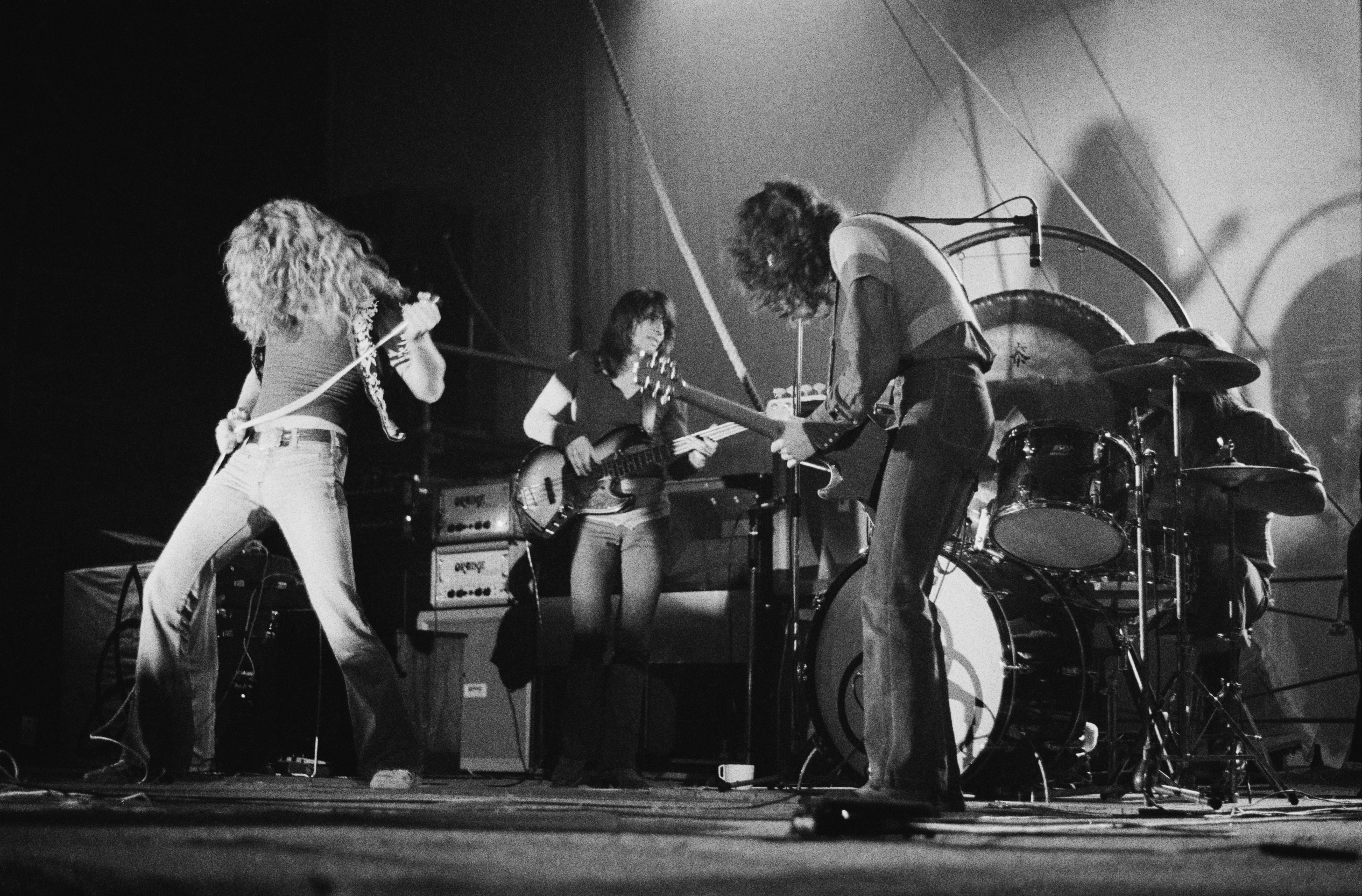 English rock group Led Zeppelin performing at the Empire Pool, Wembley, London, 23rd November 1971. Left to right: Robert Pla
