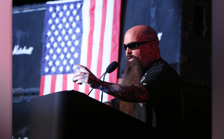 HOLLYWOOD, CA - MAY 23:  Guitarist Kerry King of the metal band Slayer speaks at the memorial celebration for Slayer Guitaris