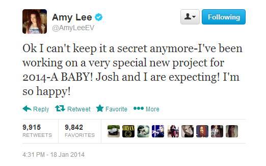 Amy Lee bekommt ein Kind