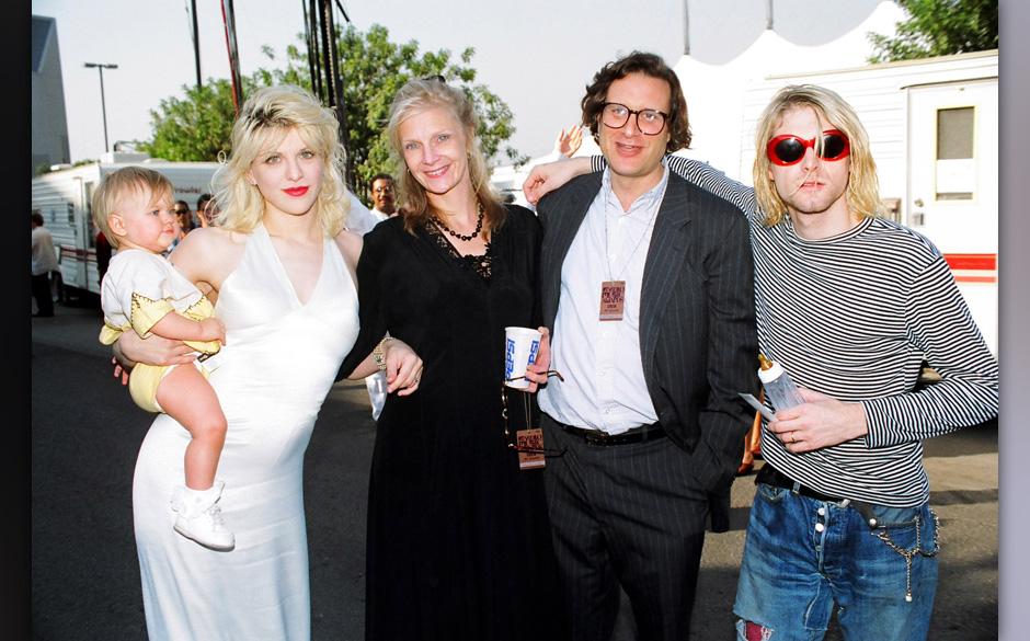 Courtney Love, Frances Bean Cobain, Danny Goldberg and wife and Kurt Cobain of Nirvana (Photo by Jeff Kravitz/FilmMagic, Inc)