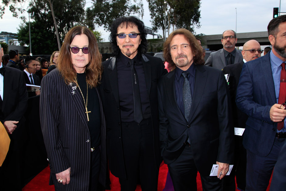Image #: 26811214    Ozzy Osbourne, Toni Loomi and Geezer Butler of The band 'Black Sabbath' arrive at the 56th Annual Grammy