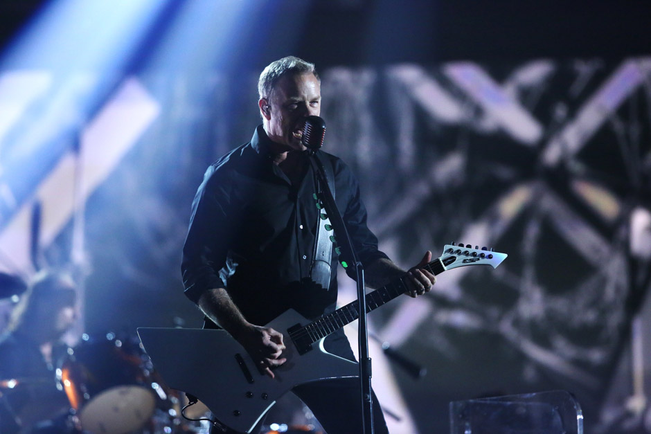 James Hetfield of Metallica performs 'One' at the 56th annual Grammy Awards at Staples Center on Sunday, Jan. 26, 2014, in Lo