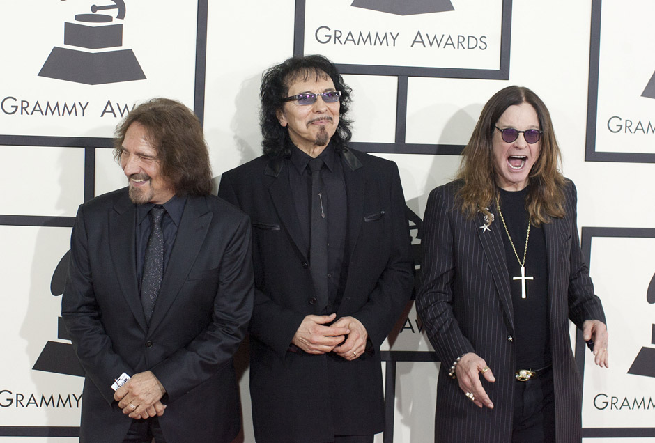 Jan. 26, 2014 - Los Angeles, California, U.S - From left, Geezer Butler, Tony Iommi and Ozzy Osbourne of Black Sabbath on the