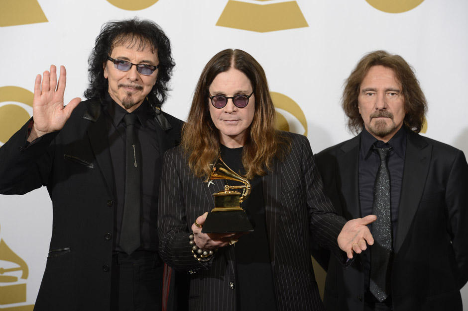 Image #: 26816101    .(L-R) Recording artists Tony Iommi, Ozzy Osbourne and Geezer Butler of Black Sabbath hold their Grammy