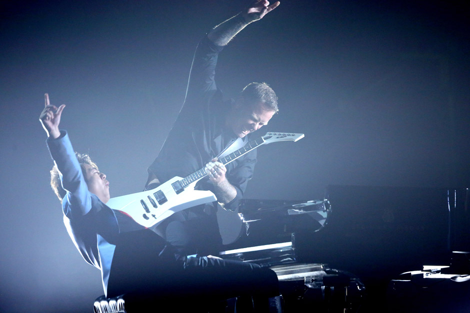 Lang Lang, left, and James Hetfield of Metallica, perform 'One' at the 56th annual Grammy Awards at Staples Center on Sunday,