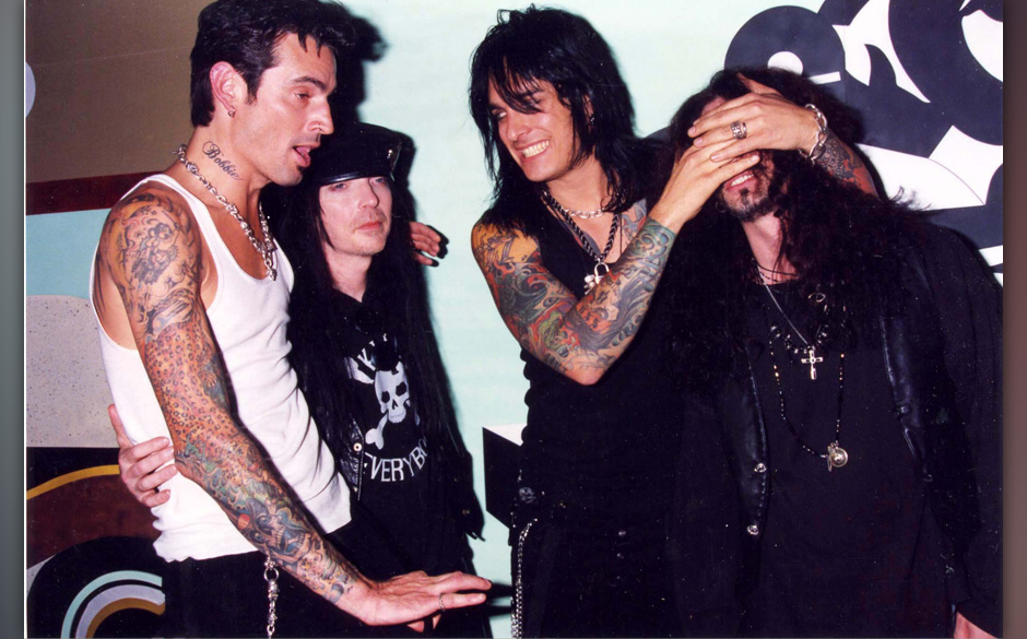 Tommy Lee, Mick Mars, Nikki Sixx and John Corabi of Motley Crue (Photo by Jeff Kravitz/FilmMagic)