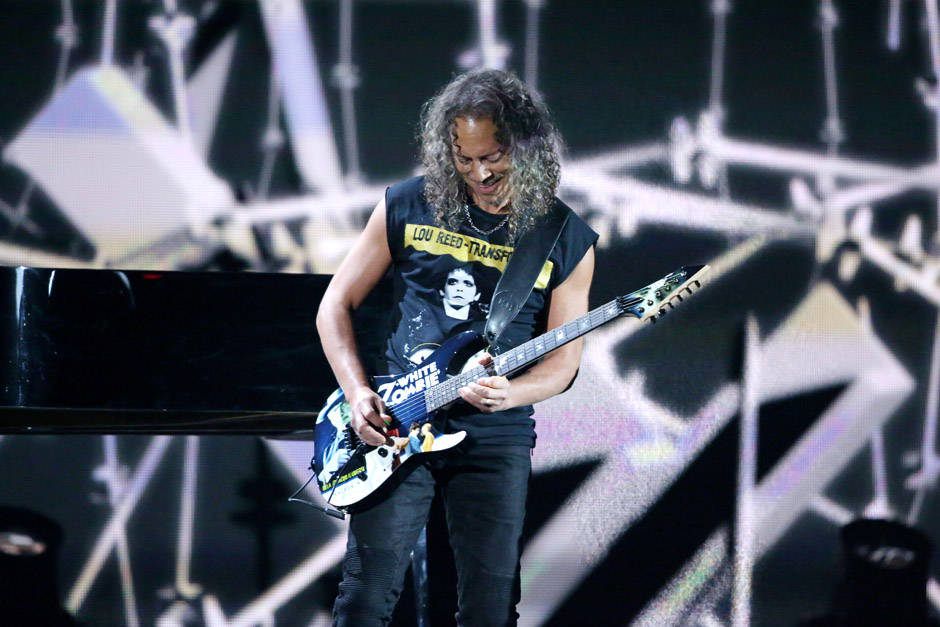 Kirk Hammett of Metallica performs 'One' on stage at the 56th annual Grammy Awards at Staples Center on Sunday, Jan. 26, 2014