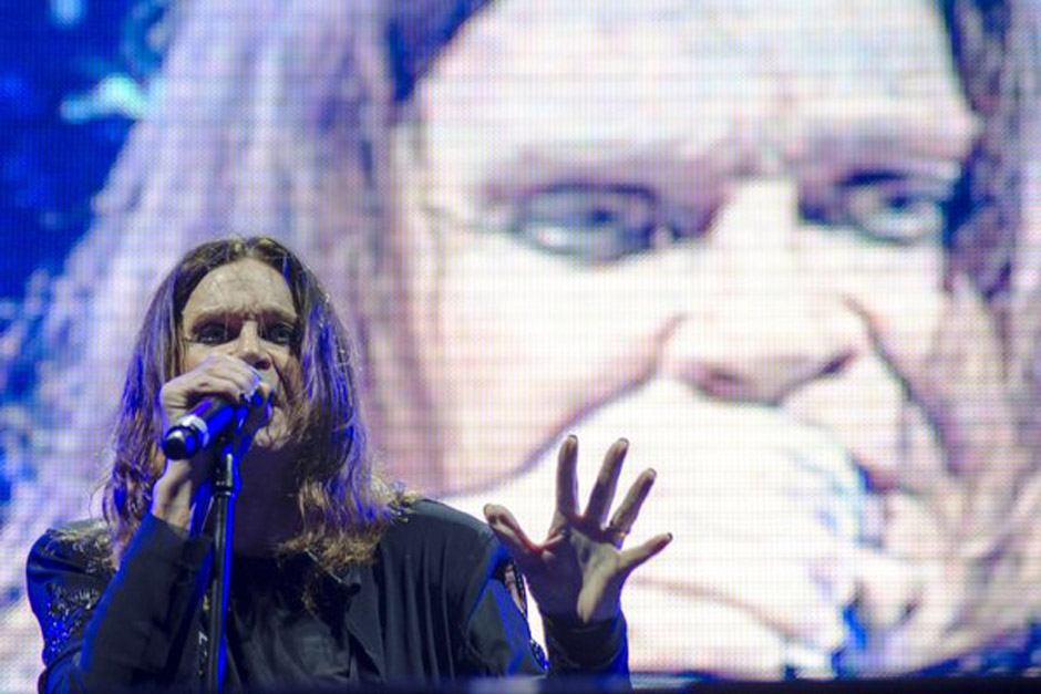 Musician Ozzy Osbourne, lead singer of British band Black Sabbath during concert of their world tour, 'The Reunion Tour', in