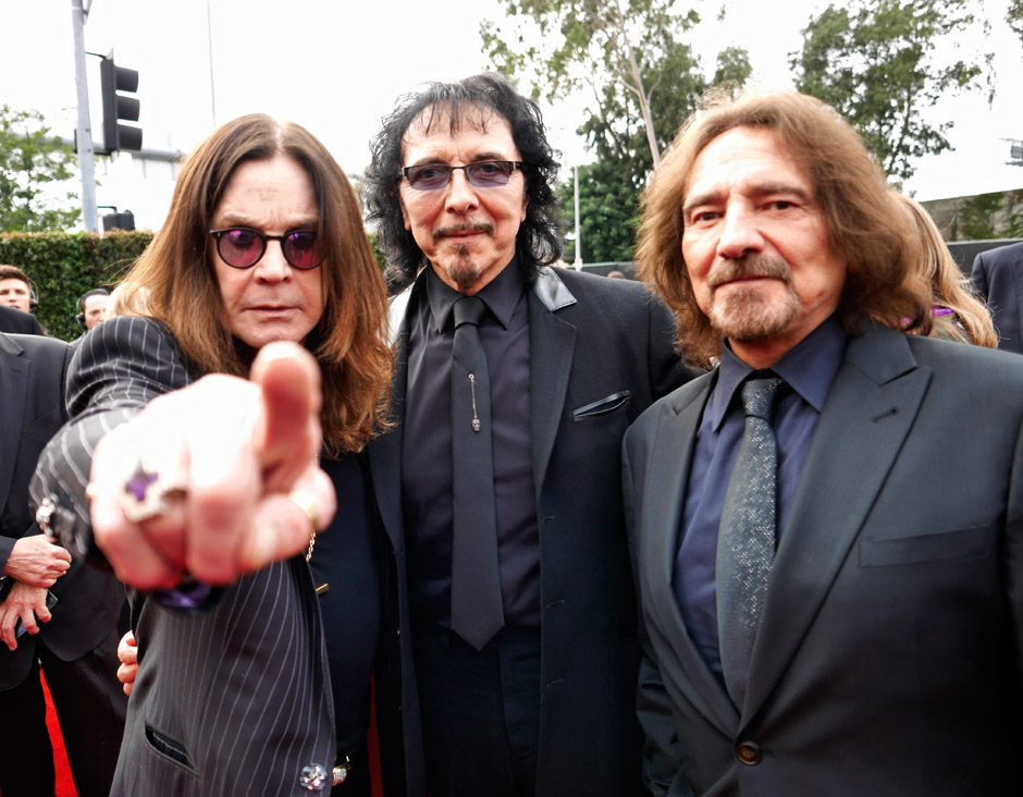 Image #: 26811208    Ozzy Osbourne, Toni Loomi and Geezer Butler of The band 'Black Sabbath' arrive at the 56th Annual Grammy