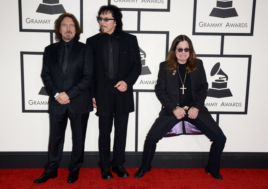 Geezer Butler, Tony Iommi and Ozzy Osbourne of Black Sabbath attend the 56th GRAMMY Awards at Staples Center on January 26, 2