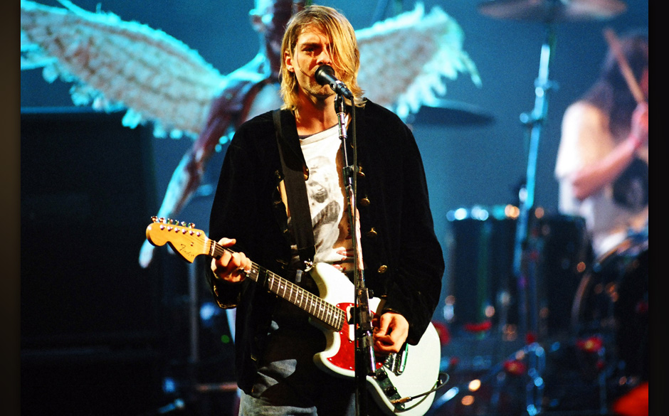Kurt Cobain of Nirvana during MTV Live and Loud: Nirvana Performs Live - December 1993 at Pier 28 in Seattle, Washington, Uni