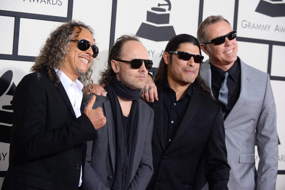 Kirk Hammett, from left, Lars Ulrich, Robert Trujillo and James Hetfield of Metallica arrive at the 56th annual Grammy Awards