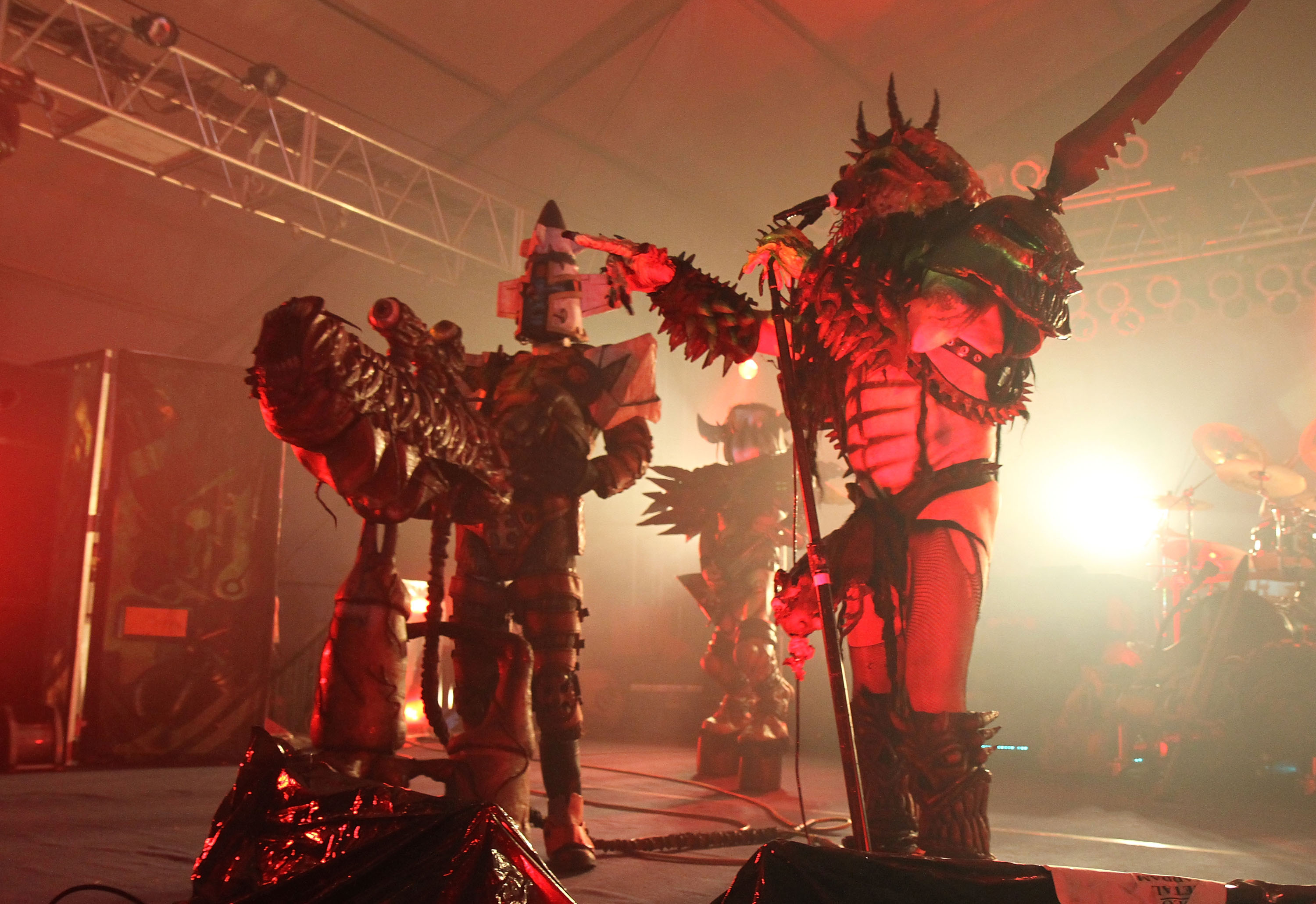 MANCHESTER, TN - JUNE 12:  Oderus Urungus (R) of GWAR performs onstage during Bonnaroo 2010 at The Other Tent on June 12, 201