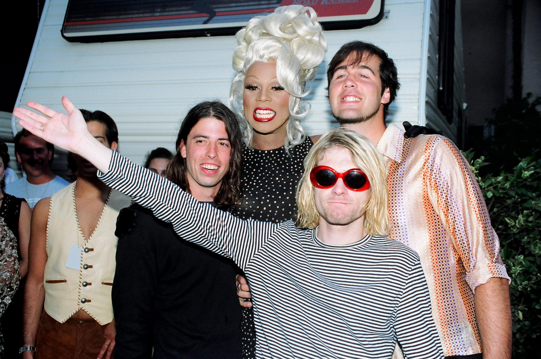RuPaul (center) with Dave Grohl, Kurt Cobain and Krist Novoselic of Nirvana  (Photo by Jeff Kravitz/FilmMagic)