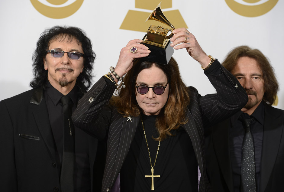 Image #: 26816131    .(L-R) Recording artists Tony Iommi, Ozzy Osbourne and Geezer Butler of Black Sabbath hold their Grammy