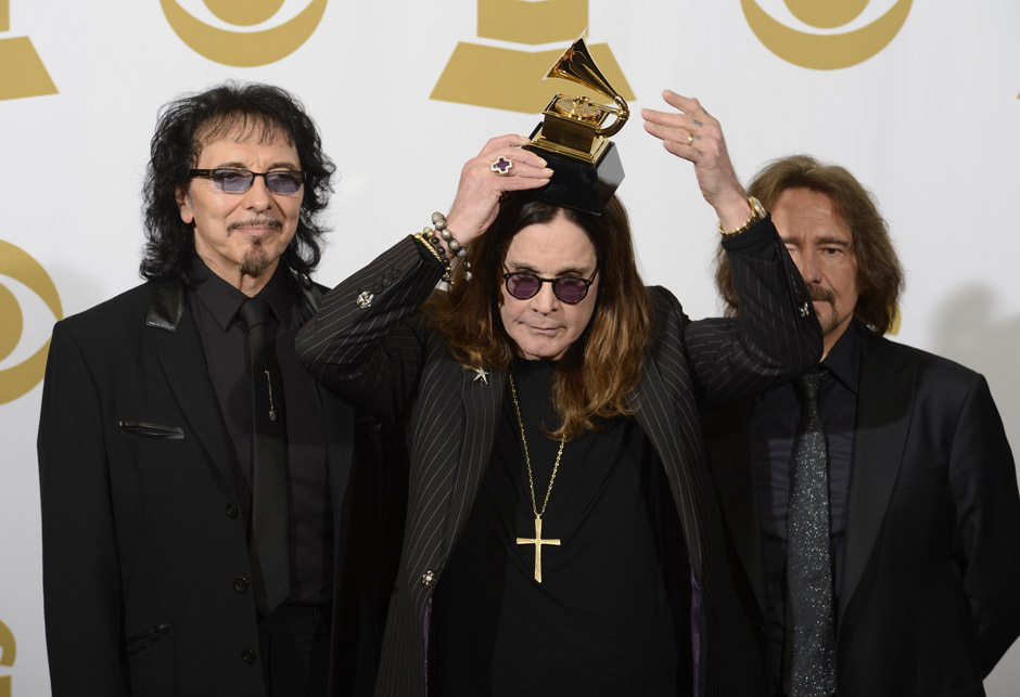 Image #: 26816185    (L-R) Recording artists Tony Iommi, Ozzy Osbourne and Geezer Butler of Black Sabbath hold their Grammy A