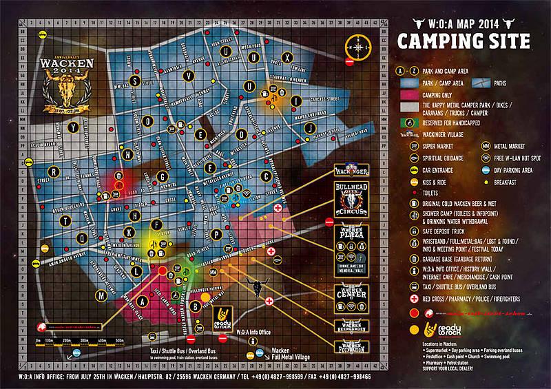 Wacken: Karten von Campsite und Holy Wacken Land online
