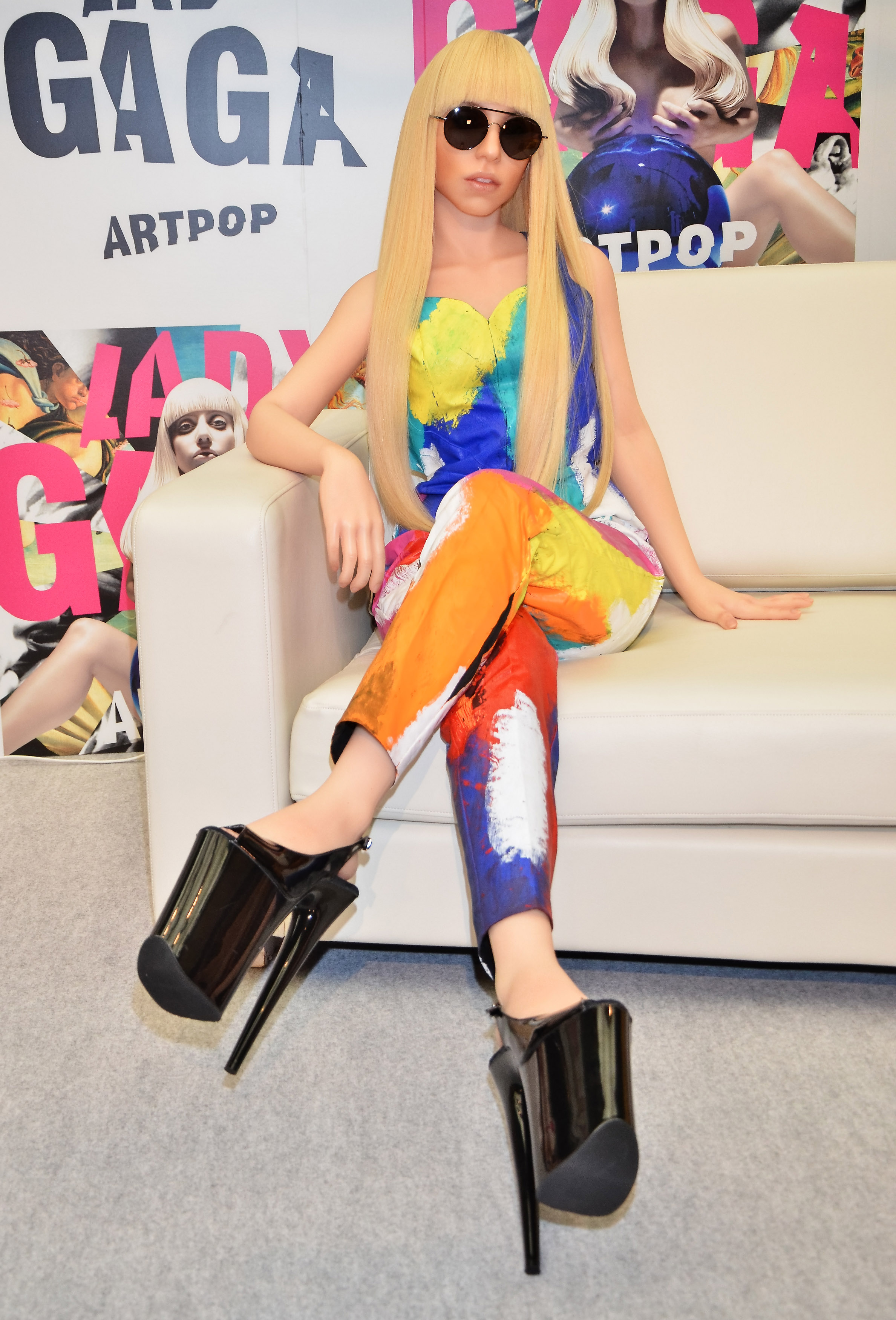 Image #: 25809901    A lifelike ''Gagadoll' sits on a couch as Lady Gaga (not shown) promotes her new album 'ARTPOP' in Tokyo