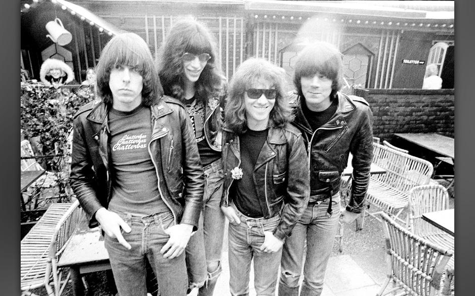 DENMARK - MAY 01:  Photo of RAMONES; The Ramones. left to right: Johnny Ramone (guitar), Joey Ramone (vocals), Tommy Ramone (