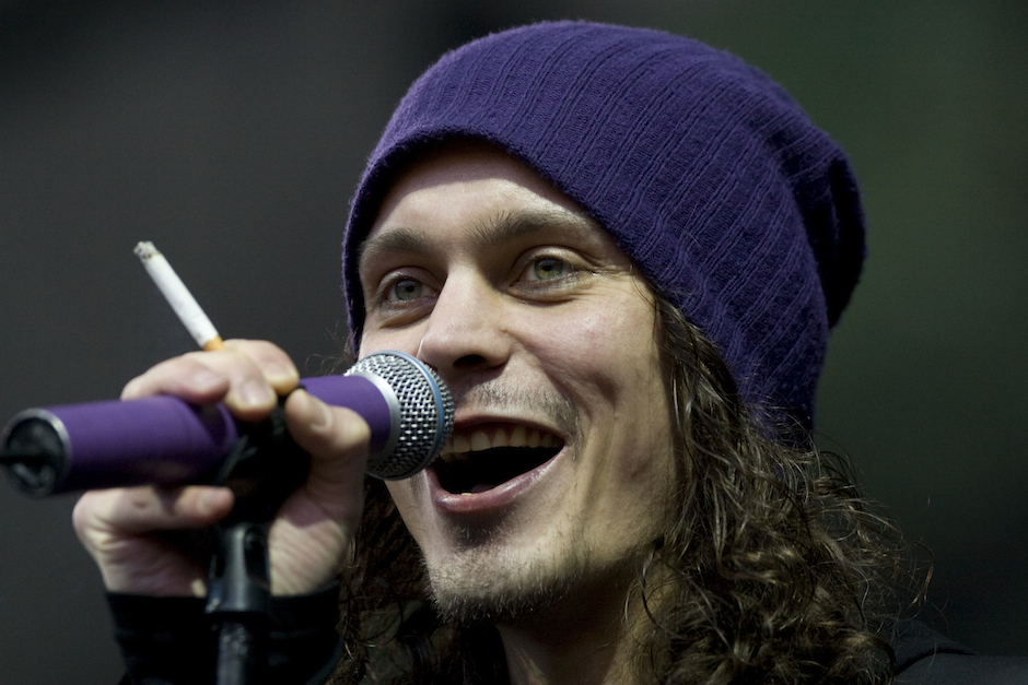 BERLIN - JUNE 27: Singer Ville Valo of the Finish Dark Rock band band 'HIM' performs live during a concert prior the main act