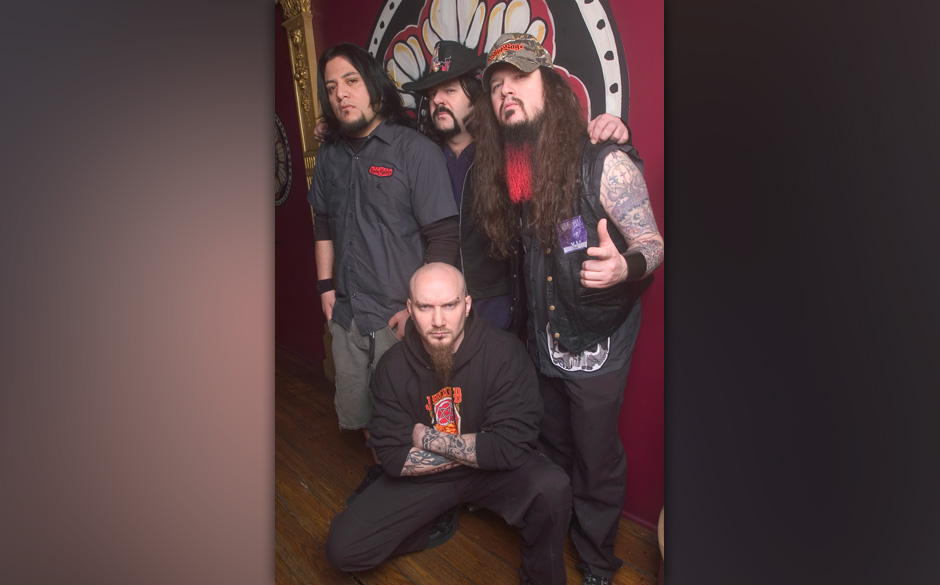 Group portrait of American music group Damageplan as the pose backstage at the House of Blues, Chicago, Illinois, April 8, 20