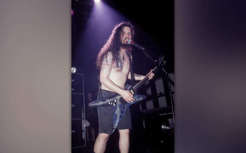 Dimebag Darrell of Pantera performing at the Roseland Ballroom in New York City on April 13, 1994.