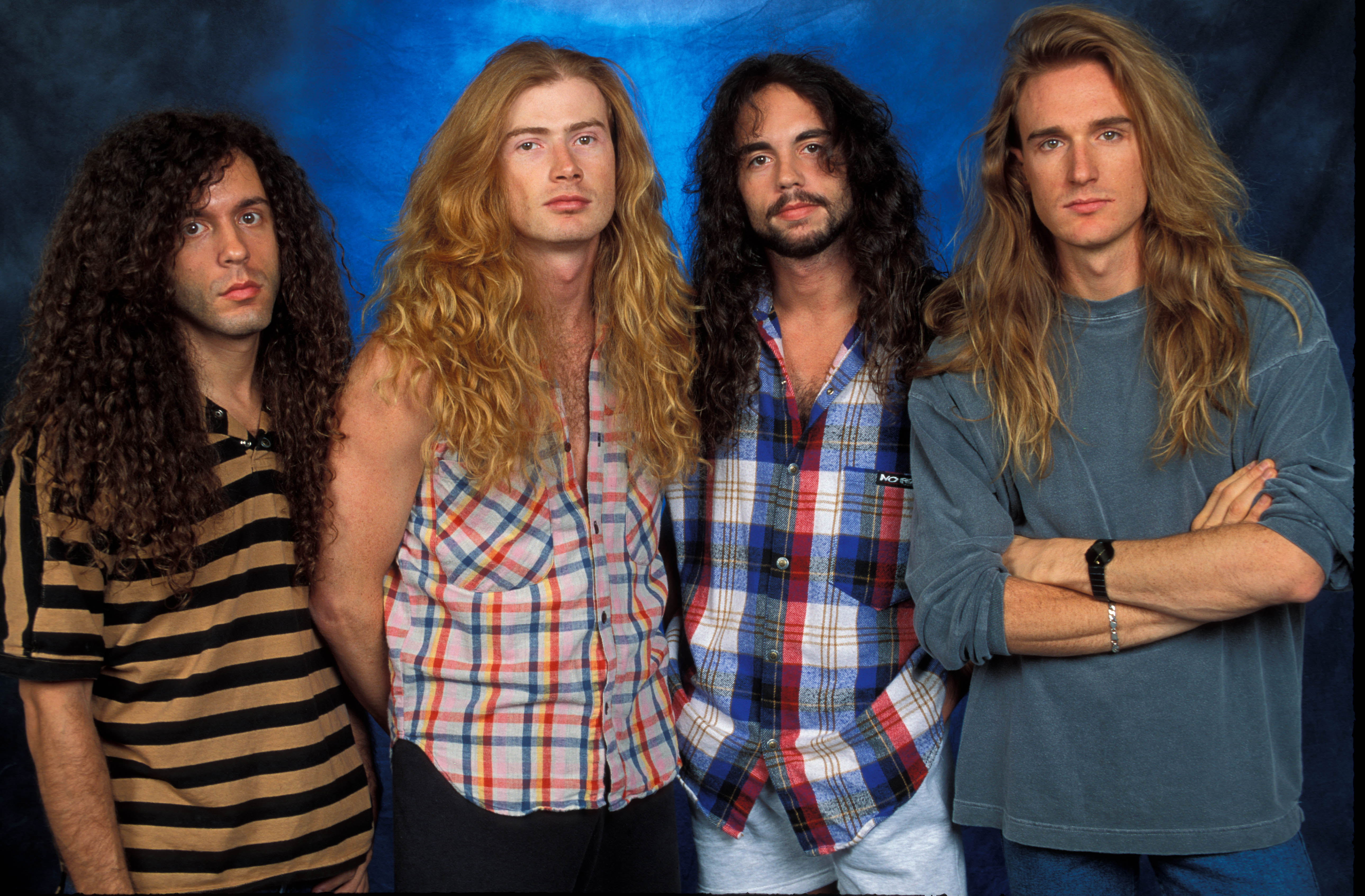 UNSPECIFIED - JANUARY 01:  STUDIO  Photo of David Ellefson and Dave MUSTAINE and Marty FRIEDMAN and MEGADETH, L-R: Marty Frie