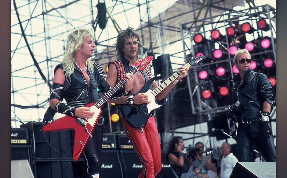 PHILADELPHIA, JULY 13:  Judas Priest perform at Live Aid at Veteren's Stadium on July 13, 1985 in Philadelphia, Pennsylvania.
