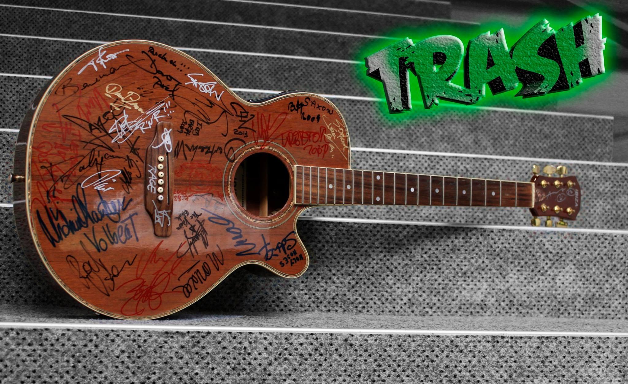Die signierte Akustikgitarre der Auktion