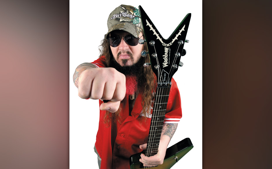 Portrait of American guitarist Darrell Abbott, better known by his stage name Dimebag Darrell, taken on June 8, 2004. Darrell