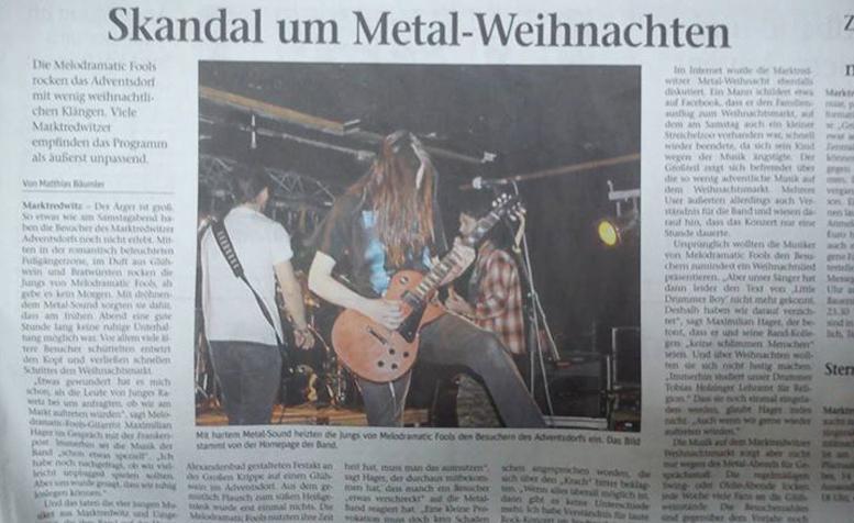 Frankenpost-Artikel 'Skandal um Metal-Weihnachten