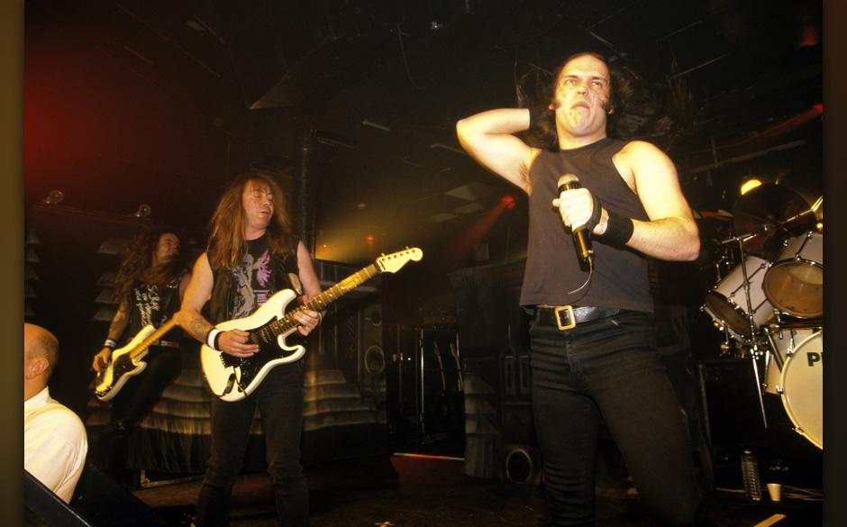 UNITED KINGDOM - FEBRUARY 02:  ROCK CITY  Photo of Blaze BAYLEY and Dave MURRAY and IRON MAIDEN, with Blaze Bayley singing -