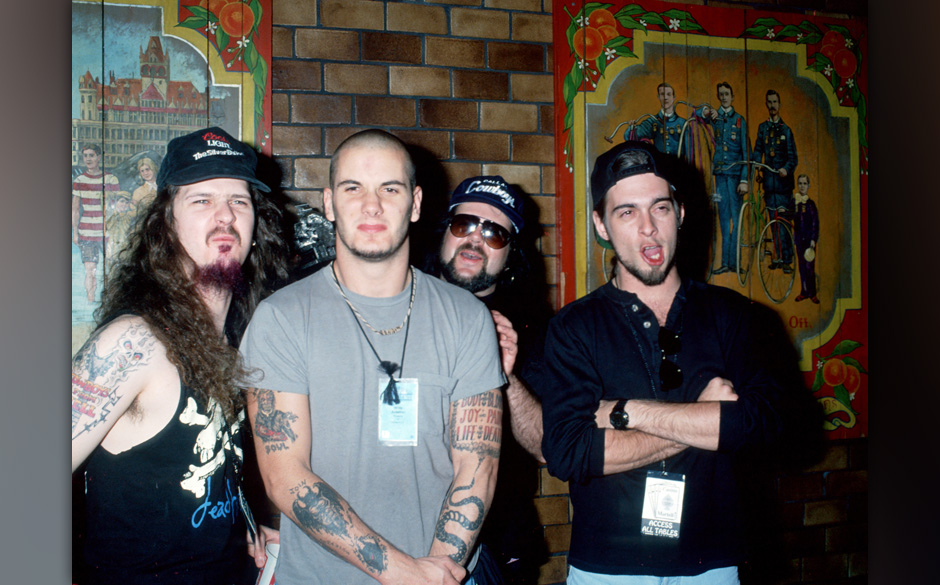 Pantera  From left to right: Dimebag Darrell, Phil Anselmo, Vinnie Paul, and Rex (Photo by Ron Galella, Ltd./WireImage)