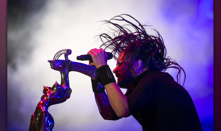 epa04356632 Leading vocalist and frontman of the US Nu Metal band Korn, Jonathan Davis, performs during his concert at the 22