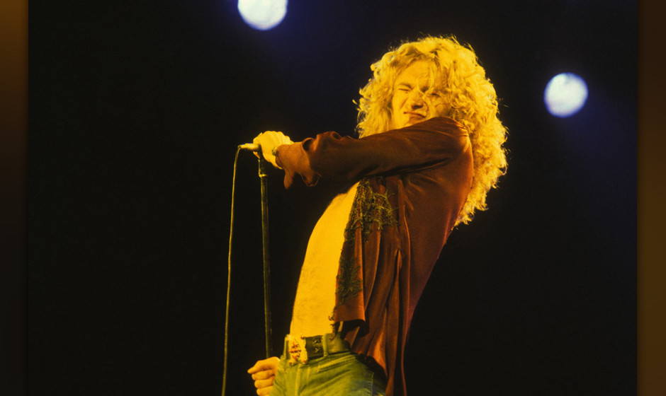 LOS ANGELES - JANUARY 01, 1979: Robert Plant from Led Zeppelin in concert circa 1979  in Los Angeles, California.  **EXCLUSIV