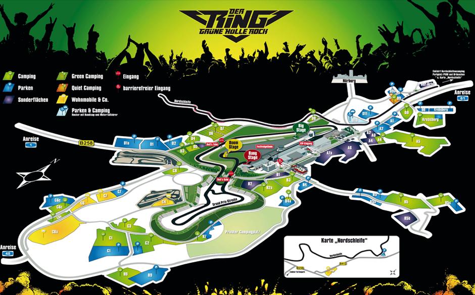 Rock Am Ring Karte.Der Ring Grüne Hölle Rock Spieltage Geländeplan