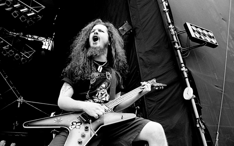 Pantera guitarist Dimebag Darrell live at Castle Donington Monsters of Rock, United Kingdom, 1994. (Photo by Martyn Goodacre/