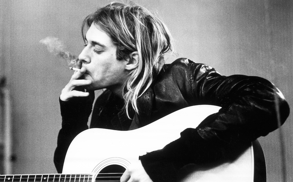 NETHERLANDS - NOVEMBER 25:  HILVERSUM  Photo of Kurt COBAIN and NIRVANA, Kurt Cobain recording in Hilversum Studios smoking c